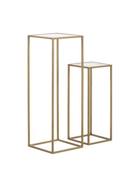 Set de mesas auxiliares Honey, 2uds., tablero de espejo, Estructura: metal pintado, Tablero: espejo de cristal mate, Latón, Set de diferentes tamaños