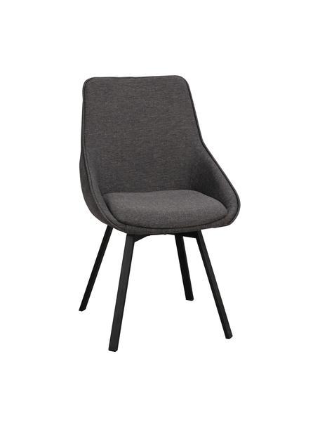 Gestoffeerde bureaustoel Alison, Bekleding: polyester, Poten: gepoedercoat metaal, Geweven stof donkergrijs, B 51 x D 57 cm