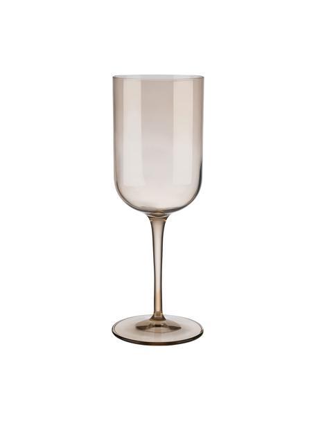 Copas de vino Fuum, 4uds., Vidrio, Beige transparente, Ø 8 x Al 22 cm