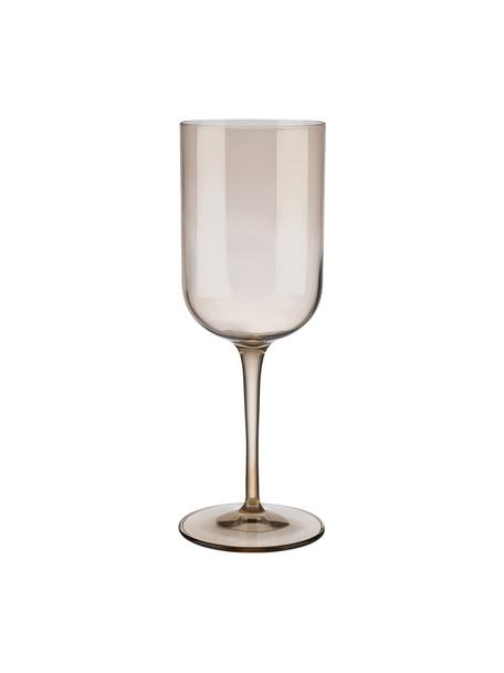 Weingläser Fuum in Braun, 4 Stück, Glas, Beige, transparent, Ø 8 x H 22 cm