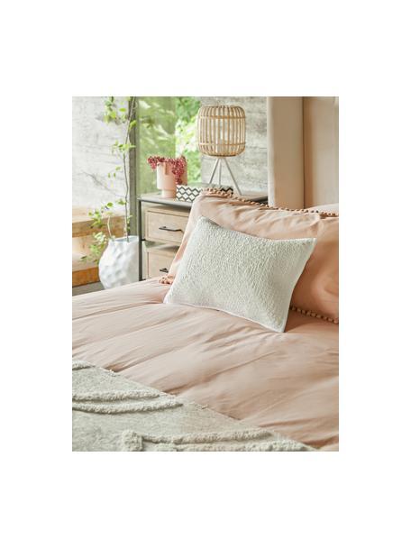 Poszewka na poduszkę z perkalu z pomponami Bommy, 2 szt., Blady różowy, S 40 x D 80 cm