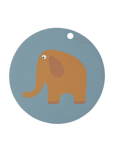Mantel individual Elephant, Silicona, Azul, marrón, naranja, blanco, negro, Ø 39 cm