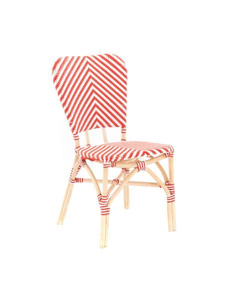 Silla para exterior Bistrot, Tapizado: tela tejida, Estructura: ratán, Rojo, blanco, An 59 x F 52 cm