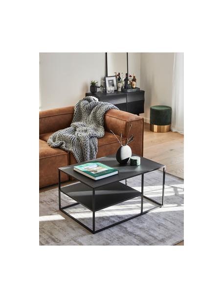 Tavolino da salotto in metallo nero Neptun, Metallo verniciato a polvere, Nero, Larg. 90 x Alt. 45 cm