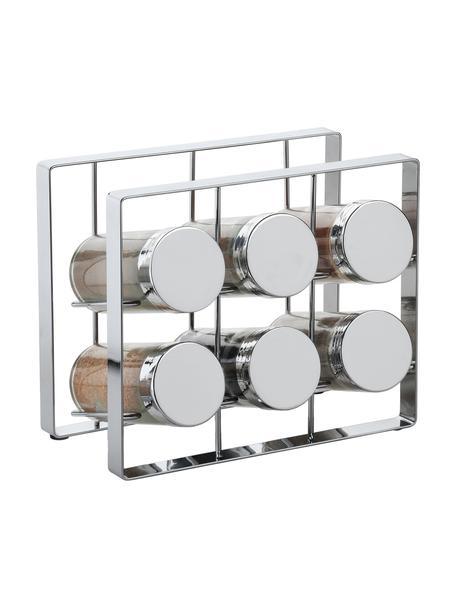 Kruidenrek met opbergpotten Spices, 7-delig, Frame: gelakt metaal, Sluiting: gelakt aluminium, Zilverkleurig, 18 x 15 cm
