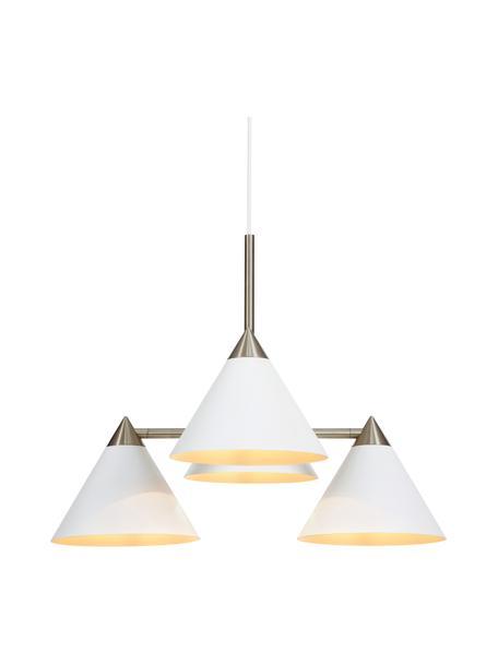 Lámpara de techo Klint, Estructura: metal recubierto, Anclaje: metal recubierto, Cable: cubierto en tela, Blanco, plateado, Ø 57 x Al 46 cm