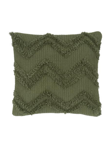 Boho Kissenhülle Akesha mit getuftetem Zickzack-Muster, 100% Baumwolle, Grün, 45 x 45 cm