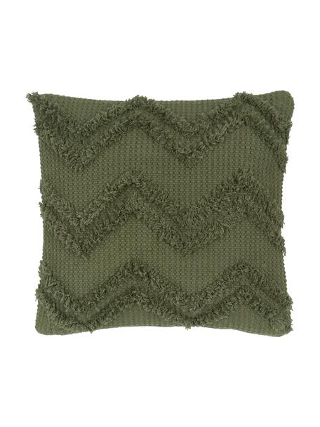 Federa arredo boho con motivo a zigzag trapuntato Akesha, 100% cotone, Verde, Larg. 45 x Lung. 45 cm