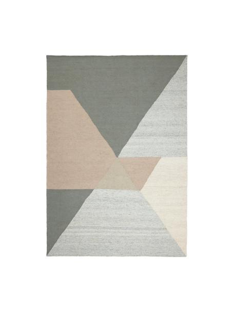 Tappeto in viscosa tessuto a mano con motivo astratto Snefrid, 80% viscosa, 20% lana, Verde, grigio, beige, Larg. 140 x Lung. 200 cm (taglia S)