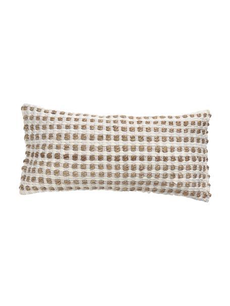 Funda de cojín con detalles en yute Fiesta, 55%algodón, 45%yute, Blanco, beige, An 30 x L 60 cm