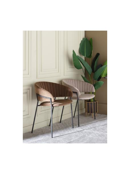 Fluwelen stoel Room in lichtgrijs, Bekleding: 100% polyester fluweel, Frame: gecoat metaal, Grijs, 53 x 58 cm