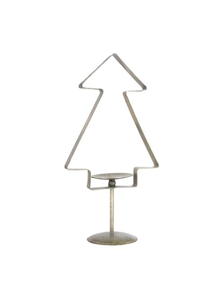 Portacandela natalizio a forma di pino Tree, Metallo rivestito, Ottonato, Larg. 20 x Alt. 39 cm