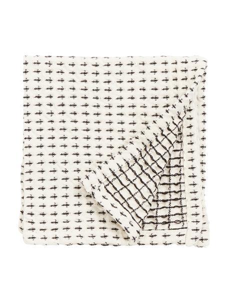 Strofinaccio in cotone Stirly 3 pz, 100% cotone, Bianco latteo, nero, Larg. 32 x Lung. 32 cm