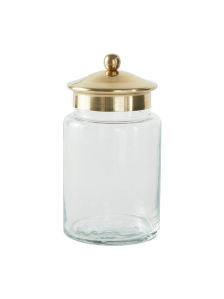 Contenitore con coperchio Dorotea, Contenitore: vetro, Coperchio: metallo rivestito, Trasparente, ottonato, Ø 9 x Alt. 16 cm