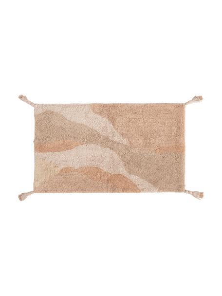 Tappeto bagno con nappe Malva, 100% cotone, Tonalità beige, Larg. 50 x Lung. 70 cm