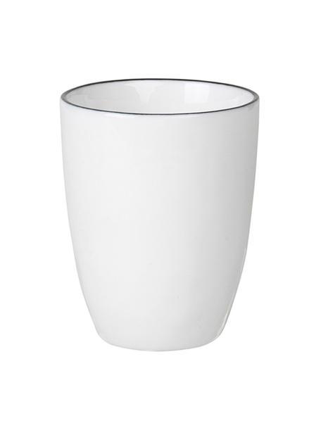 Tazza da caffè fatta a mano con bordo nero Salt 4 pz, Porcellana, Bianco latteo, nero, Ø 6 x Alt. 8 cm