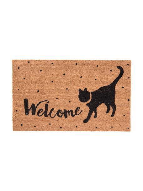 Deurmat Welcome Cat, Bovenzijde: kokosvezels, Onderzijde: PVC, Bruin, zwart, 45 x 75 cm