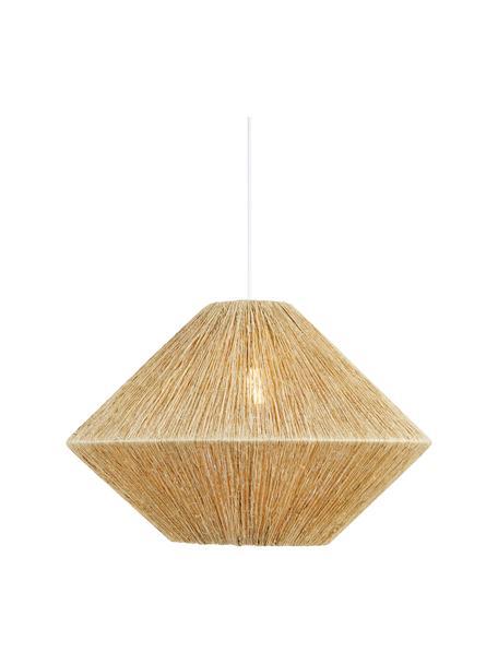 Grote hanglamp Straw van rotan, Lampenkap: rotan, Baldakijn: gecoat metaal, Beige, wit, Ø 60 x H 39 cm