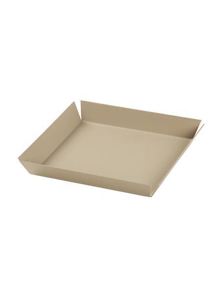 Deko-Tablett Erika in Beige, L 14 cm, B 14 cm, Metall, beschichtet, Beige, 14 x 14 cm