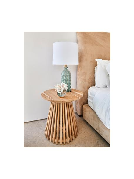 Lampada da tavolo in ceramica verde salvia Nizza, Paralume: tessuto, Base della lampada: ceramica, metallo ottonat, Verde salvia, Ø 33 x Alt. 60 cm