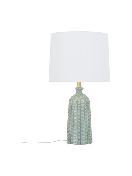 Lámpara de mesa grande de cerámica Nizza, Pantalla: tela, Cable: plástico, Verde salvia, Ø 33 x Al 60 cm