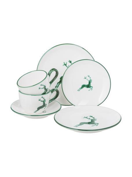 Servizio da caffè dipinto a mano per 2 persone Classic Grüner Hirsch 6 pz, Ceramica, Verde, bianco, Set in varie misure
