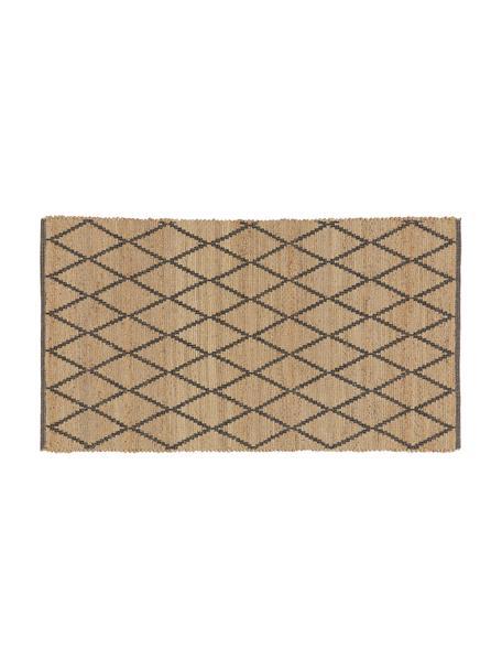 Handgemaakte juten deurmat Atta, 100% jute, Beige, zwart, 50 x 80 cm