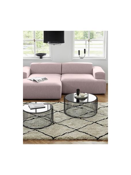 Hoekbank Melva (3-zits) in roze, Bekleding: 100% polyester, Frame: massief grenenhout, FSC-g, Poten: kunststof, Roze, B 239 x D 143 cm
