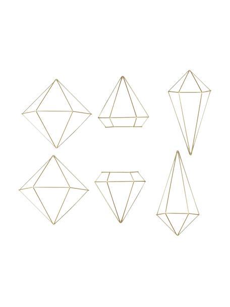 Komplet dekoracji ściennych z metalu lakierowanego Prisma, 6 elem., Metal lakierowany, Odcienie mosiądzu, Komplet z różnymi rozmiarami