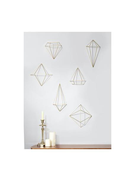Wandobjekte-Set Prisma aus lackiertem Metall, 6-tlg., Metall, lackiert, Messingfarben, Set mit verschiedenen Grössen