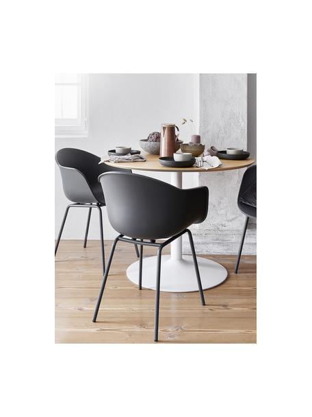 Kunststoff-Armlehnstuhl Claire mit Metallbeinen, Sitzschale: Kunststoff, Beine: Metall, pulverbeschichtet, Grau, B 60 x T 54 cm