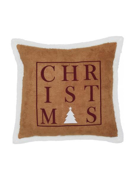 Geborduurde kussenhoes Merry Season van kunstleer met teddyvacht bies, 100% polyester, Lichtbruin, donkerrood, wit, 50 x 50 cm