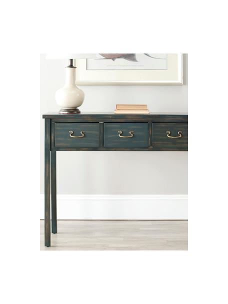 Consola Leonie, con 3 cajones, Estructura: madera de pino, tablero d, Patas: madera de pino pintado, Azul petroleo, grisaceo, An 100 x Al 81 cm