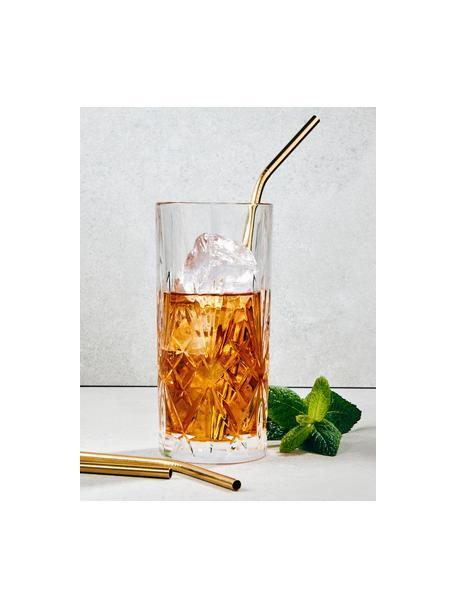 Set 4 cannucce dorate con spazzolino Manhattan Lounge, Acciaio inossidabile, materiale sintetico, Dorato, Lung. 22 cm