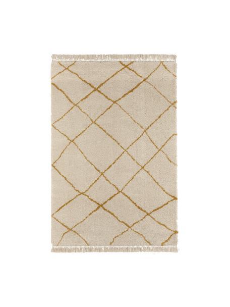 Flauschiger Hochflor-Teppich Primrose in Creme mit Rautenmuster, 100% Polypropylen, Creme, Goldgelb, B 120 x L 170 cm (Größe S)