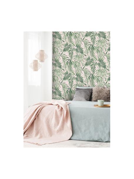 Carta da parati Leaves Blush, Tessuto non tessuto, Verde, rosa, Larg. 52 x Lung. 1005 cm