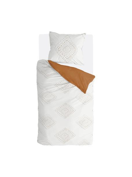 Pościel w stylu boho Stitches, Biały, koniakowy, 135 x 200 cm + 1 poduszka 80 x 80 cm