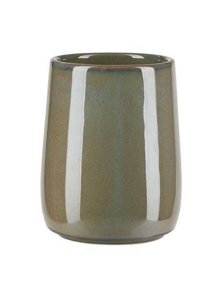 Zahnputzbecher Tin aus Keramik in Grün, Keramik, Grün, Ø 8 x H 11 cm