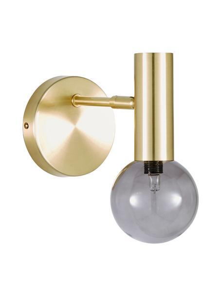 Wandlamp Wilson met glazen lampenkap, Lampenkap: glas, Fitting: vermessingd metaal, Messingkleurig, Ø 10 x H 22 cm