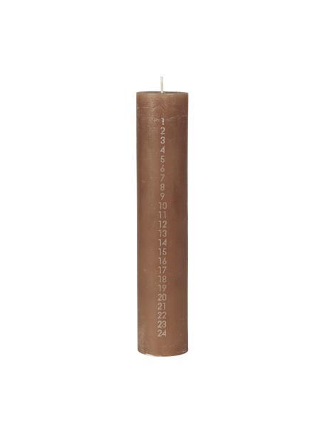 Adventskalenderkerze Calendar H 25 cm, Wachs, Braun, Ø 5 x H 25 cm
