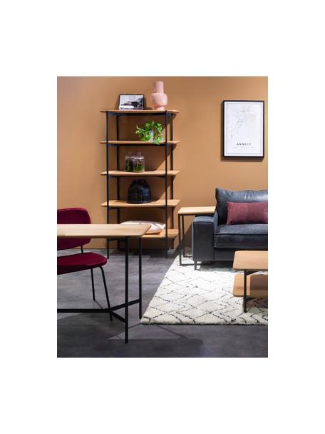 Wandtafel Easy van hout en metaal, Plank: MDF met eikenhoutfineer, Poten: gecoat metaal, Zwart, bruin, 120 x 76 cm