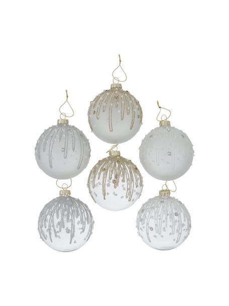 Set 6 palline di Natale Inessa, Ø8 cm, Grigio, bianco, argentato, dorato, Ø 8 cm