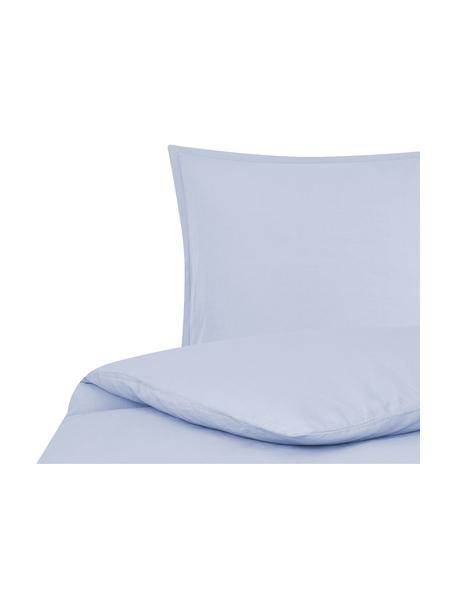Gewaschene Leinen-Bettwäsche Nature in Hellblau, Halbleinen (52% Leinen, 48% Baumwolle)  Fadendichte 108 TC, Standard Qualität  Halbleinen hat von Natur aus einen kernigen Griff und einen natürlichen Knitterlook, der durch den Stonewash-Effekt verstärkt wird. Es absorbiert bis zu 35% Luftfeuchtigkeit, trocknet sehr schnell und wirkt in Sommernächten angenehm kühlend. Die hohe Reißfestigkeit macht Halbleinen scheuerfest und strapazierfähig., Hellblau, 135 x 200 cm + 1 Kissen 80 x 80 cm