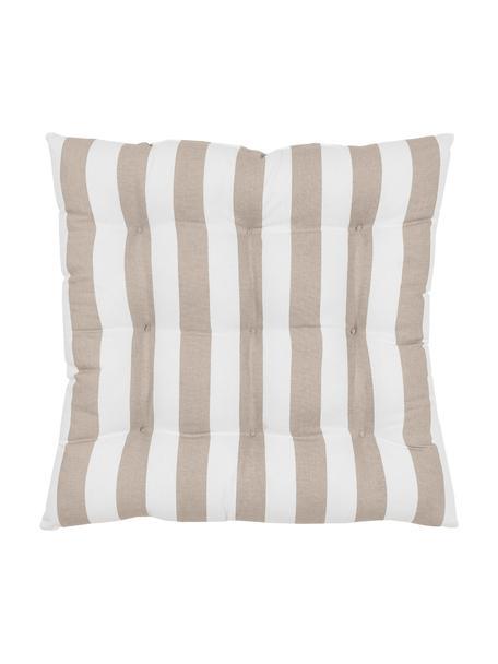 Gestreept stoelkussen Timon in taupe/wit, Bekleding: 100% katoen, Taupe, wit, 40 x 40 cm