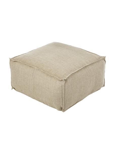 Handgemaakt vloerkussen Saffron, Bekleding: 100% linnen, Onderzijde: katoen, Taupe, 70 x 30 cm