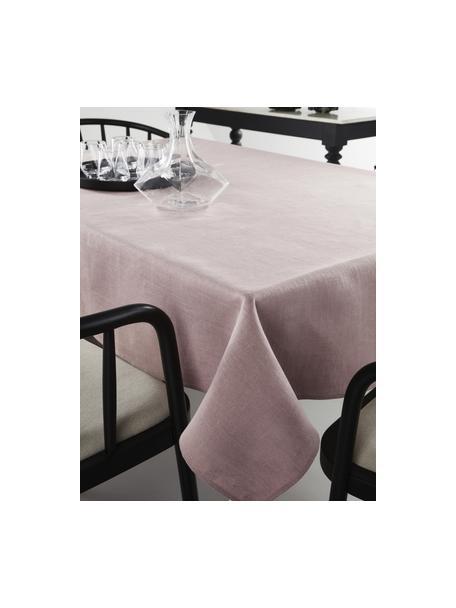 Linnen tafelkleed Heddie in roze, 100% linnen, Roze, Voor 6 - 8 personen (B 145 x L 250 cm)
