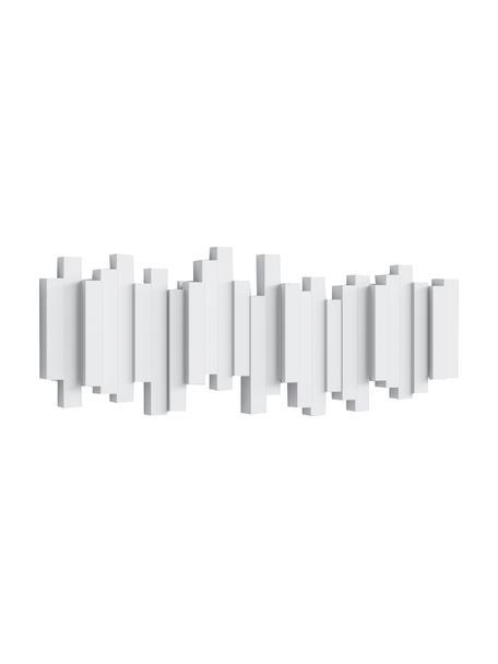 Garderobenhaken Sticks mit Stäbchendesign in Weiß, Kunststoff, Weiß, 48 x 18 cm