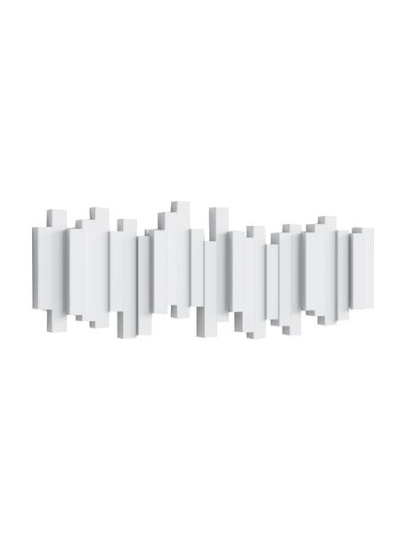 Garderobenhaken mit Stäbchendesign in Weiss, Kunststoff, Weiss, 48 x 18 cm