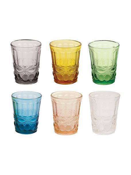 Vasos de colores con relieve Nobilis, 6uds., Vidrio, Multicolor, Ø 8 x Al 10 cm
