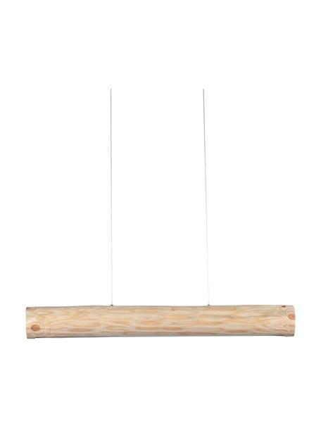 Große Dimmbare LED-Pendelleuchte Lucas aus Holz, Lampenschirm: Kiefernholz, naturbelasse, Baldachin: Metall, beschichtet, Beige, 90 x 12 cm